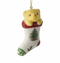 Spode Christmas Tree Ornaments Teddy Bear In Stocking