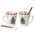 Spode Christmas Tree Peppermint Collection Set of 2 Mugs with Spoons