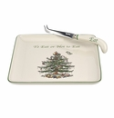 Spode Christmas Tree Serveware 2 Piece Cheese Plate with Knife