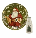 Spode Christmas Tree Serveware 2 Piece Cookies for Santa Plate and Bottle