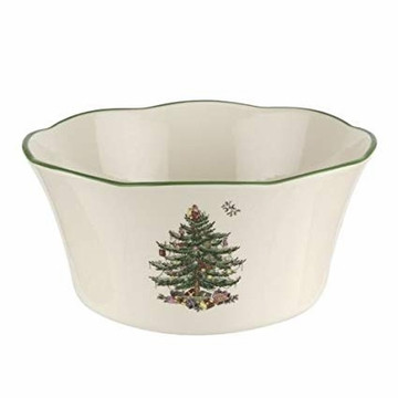 Spode Christmas Tree Serveware Flared Scalloped Bowl Large