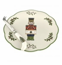 Spode Christmas Tree Serveware Nutcracker Cheese Plate with Knife