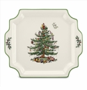 Spode Christmas Tree Serveware Square Handled Platter