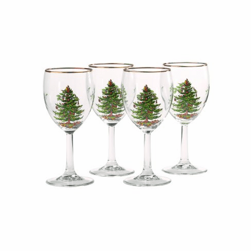 Spode Christmas Tree Set of Four Wine Glasses