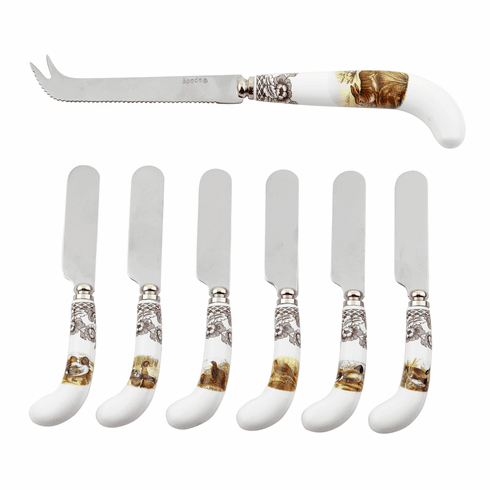 Spode Woodland Cheese Knife & 6 Spreaders (Knife - Rabbit/Spreaders - Assorted)