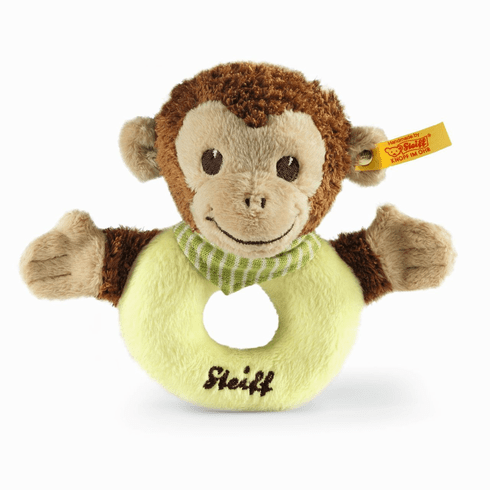 Steiff Jocko Monkey Grip Toy Brown/Beige/Green