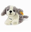 Steiff Little Tommy Puppy Grey and White Stuffed Animal