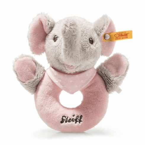 Steiff Trampili Elephant Grip Toy With Rattle Grey/Pink