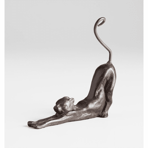 Stretching Cat Rustic Iron Sculpture by Cyan Design