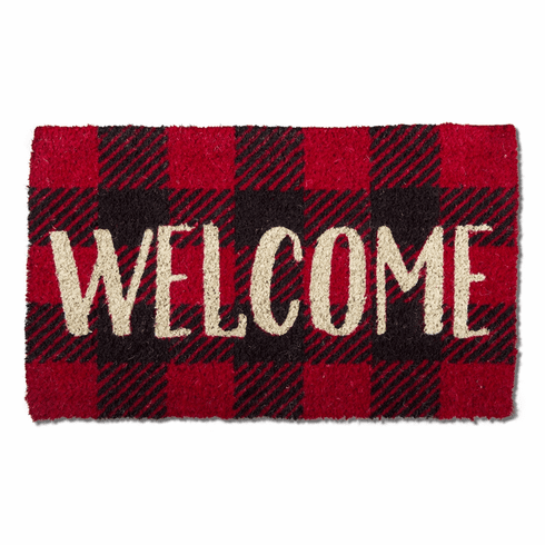 Tag Welcome Checkered Coir Doormat 30x18