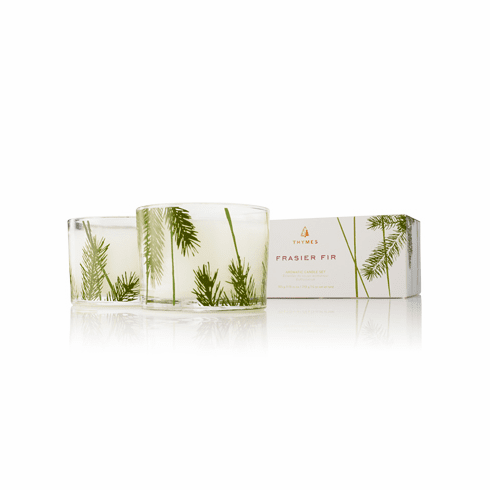 Thymes Frasier Fir 2 Candle Glass Pine Needle Design Set - 7.5 oz