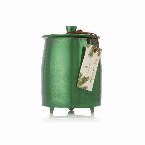 Thymes Frasier Fir Large Green Metal Tin Candle with Lid 20 oz
