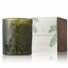 Thymes Frasier Fir Molded Green Glass Candle 6.5 oz
