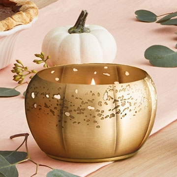 Thymes Heirloom Pumpkin Poured Candle 3-Wick Gold