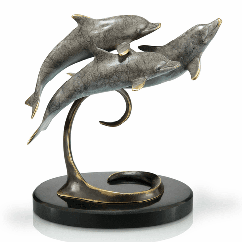 Triple Dolphins on Marble Base by SPI Home