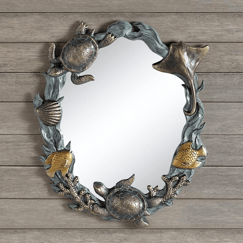 Turtles And Sealife Wall Mirror by SPI Home