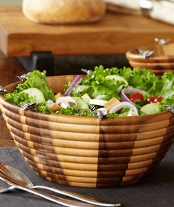 Vagabond House Wood & Pewter Salad Serving Bowls, Cutting Boards & Cheese Trays