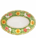"Vietri Campagna Gallina Rooster 16"" L 11.5"" W Oval Platter"