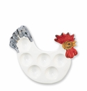 Vietri Fortunata Rooster Figural Footed Egg Tray