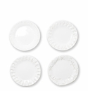 Vietri Incanto Stone White Assorted Canape Plates - Set of 4