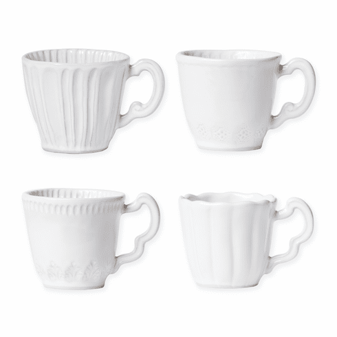 Vietri Incanto Stone White Assorted Mugs - Set of 4