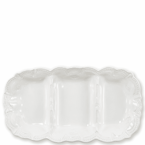 Vietri Incanto Stone White Lace Medium Three Part Server