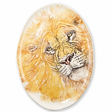 Vietri Into the Jungle Lion Large Oval Platter