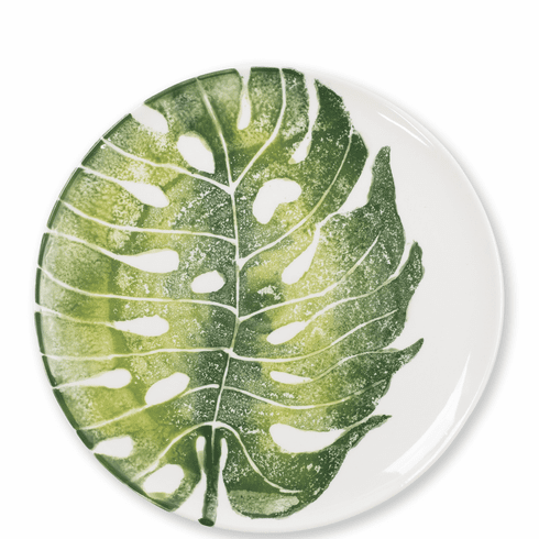 Vietri Into the Jungle Monstera Leaf Dinner Plate