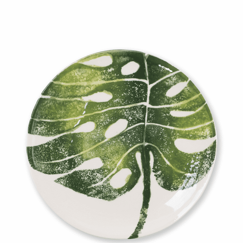 Vietri Into the Jungle Monstera Leaf Salad Plate