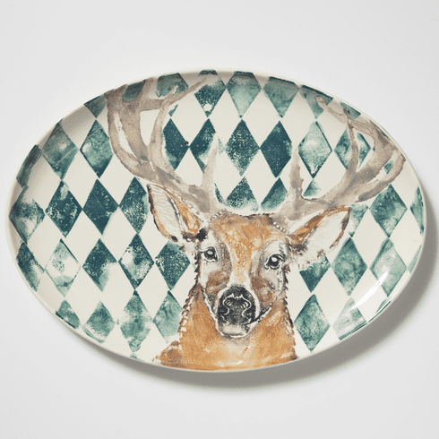 Vietri Into the Woods Deer Large Oval Platter