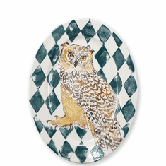 Vietri Into the Woods Owl Oval Platter