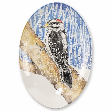 Vietri Into the Woods Woodpecker Shallow Oval Bowl