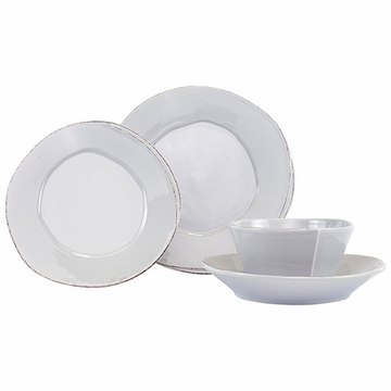 Vietri Lastra Light Gray Four-Piece Place Setting