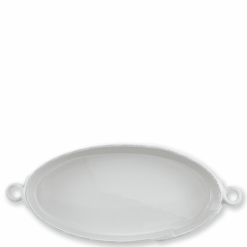 Vietri Lastra Light Gray Handled Oval Baker