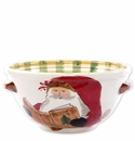 Vietri Old St. Nick Handled Medium Bowl with Santa Reading