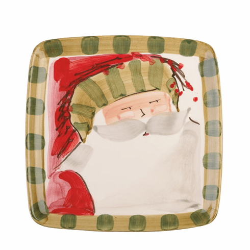 Vietri Old St. Nick Square Salad Plate - Striped