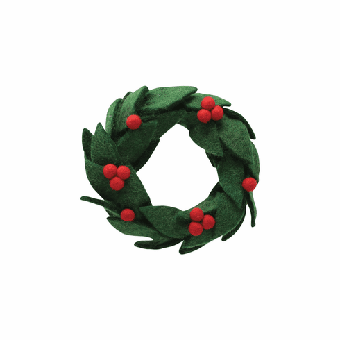 Vietri Ornaments Felt Wreath with Red Berries Ornament