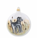 Vietri Ornaments Wildlife Black Hunting Dog Disc Ornament
