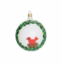 Vietri Ornaments Wreath with Red Bird Ornament