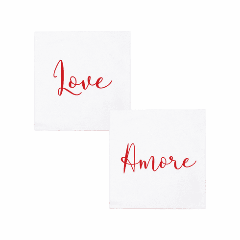 VIETRI Papersoft Napkins Love/Amore Cocktail Napkins (Pack of 20)
