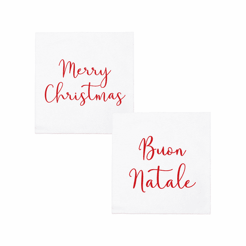VIETRI Papersoft Napkins Merry Christmas/Buon Natale Cocktail Napkins (Pack of 20)