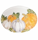 Vietri Pumpkins Large Oval Platter with Assorted Pumpkins