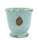 Vietri Rustic Garden Aqua Medium Cachepot with Leaf