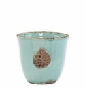 Vietri Rustic Garden Aqua Small Cachepot with Leaf