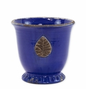 Vietri Rustic Garden Cobalt Medium Cachepot with Leaf