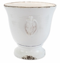 Vietri Rustic Garden White Large Footed Planter with Emblem