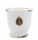 Vietri Rustic Garden White Medium Cachepot with Leaf