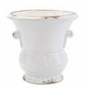 Vietri Rustic Garden White Medium Flair Planter with Emblem