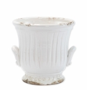 Vietri Rustic Garden White Medium Handled Cachepot