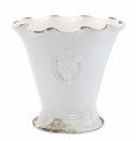 Vietri Rustic Garden White Medium Scallop Planter with Emblem